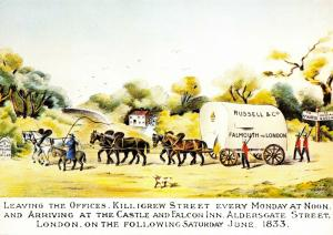 Art Postcard Mail Coach Russell's Wagon, Conveyance of Bullion from Falmouth 43S