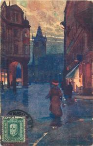 Czech R. Prag Prague Praha near the City Place artist 1927 postcard TCV stamp