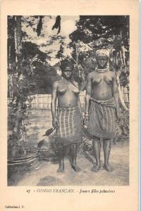 Congo Francais Africa Topless Women Antique Postcard J61141