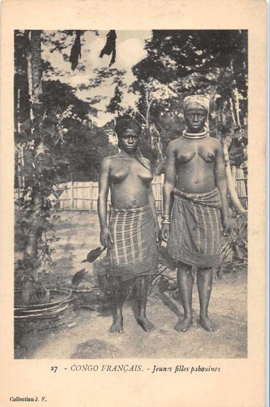 Congo Francais Africa Topless Women Antique Postcard J61141