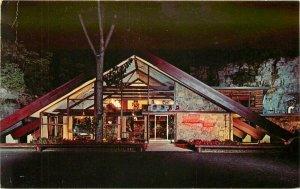 Amsterdam New York Mohawk Teepee Restaurant Postcard Night Neon roadside 8776