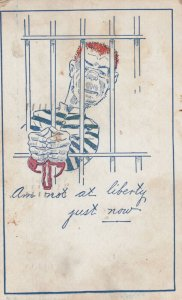 Man in jail Am not at liberty right now , 1906
