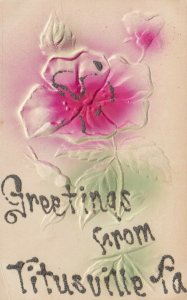 TITUSVILLE , Pennsylvania , 1900-10s; Greetings, Embossed Rose with glitter