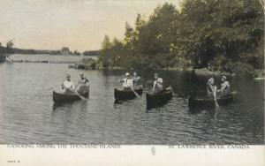1000 Islands , Ontario , 1900-10s ; Men in Canoes , St Lawrence River