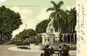 Cuba - Havana. Prado Avenue from India Park    (damaged corner)