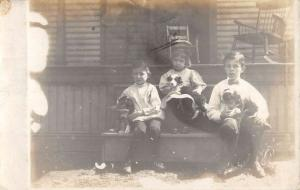 Pennsylvania Children With Puppies Real Photo Antique Postcard K7876503