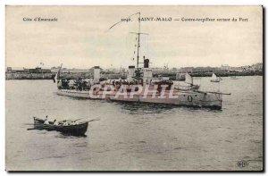 Old Postcard Boat War Against Saint-malo leaving the port torpedo