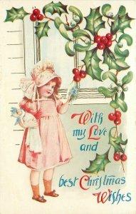 Christmas~Brundage Sunbonnet Girl Holds Dolly~Mistletoe Window~Art Nouveau~Embos