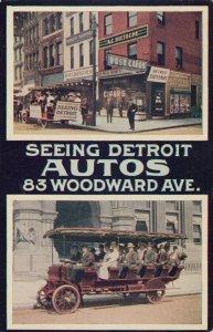 DETROIT , Michigan , 1900-10s ; Postcard Shop & Seeing Detroit AUTOS