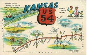 Postcard - KS - Kansas US 54 Map Symbols Greeting Unposted