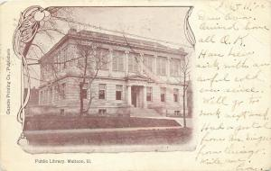Mattoon Illinois~Carnegie Public Library~1906 Art Nouveau Postcard
