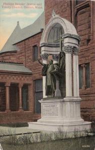 Massachusetts Boston Phillips Brooks' Statue and Trinity Church