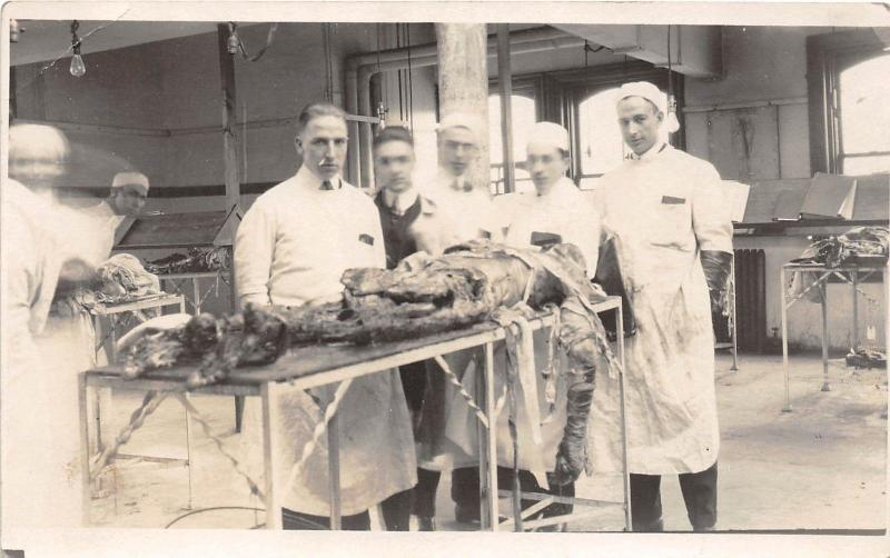 E39/ Medical Cadaver Dissection Death Students Real Photo RPPC Postcard c1910