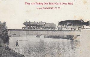 BANGOR , New York , 1915 ; Train & giant Fish