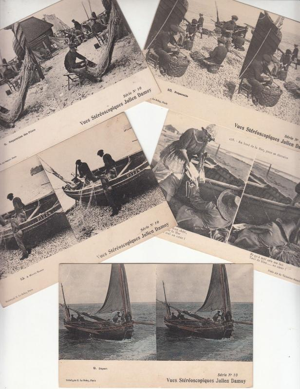 Lot 5 postcards early stereographic views life stereo scenes fishermen boats