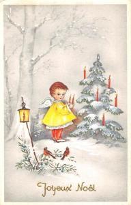 Christmas Greetings Angel Heads Cherubs Winsch Antique Postcard J50459