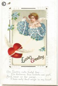 Vintage Valentine's Day Postcard Cupid riding on Heart Covered in Forget Me Nots