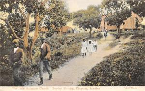 Sunday Morning Little Mountain Church Kingston Jamaica 1910c postcard