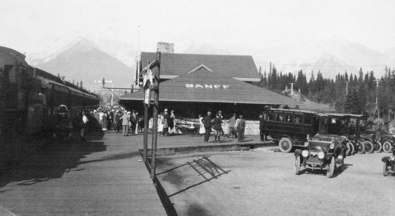 Canada - Alberta, Banff. Railway Station in 1920