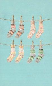 Dirty Socks On Washing Line Childrens Vintage Ladybird Book Postcard