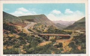 Texas El Paso Pass Thru Guadalupe Mountains Curteich