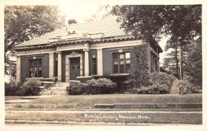 Mendon Michigan~Public Library~Memorial by Entrance~1950s RPPC Postcard