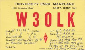 W 3 O L K Universsity Park Maryland John A Hemey 1949