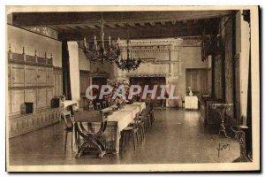 Postcard Old Loire Castles Chateau de Langeais XV S Dining room old guard room