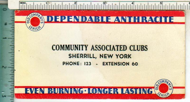 Dependable Anthracite, Community Assoc Clubs, Sherrill NY
