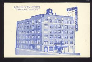CUMBERLAND MARYLAND ALGONQUIN HOTEL VINTAGE ADVERTISING POSTCARD