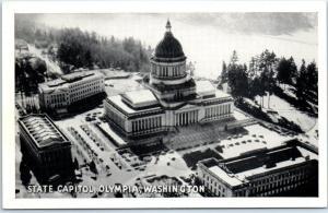 Olympia, Washington Postcard STATE CAPITOL Aerial View 1940s Graycraft Unused