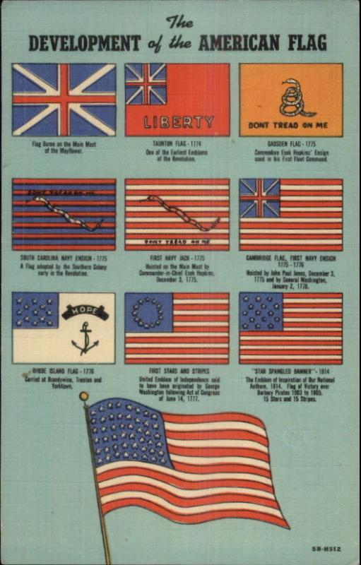 Development or Evolution of the American Flag Linen Postcard apx