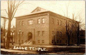 1910s ALBION Michigan RPPC Real Photo Postcard EAGLE TEMPLE Lodge View Fraternal