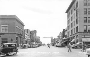Beatrice NE~Court Street~Rivoli Theater~Hugh Butler US Senate Banner~1940s RPPC