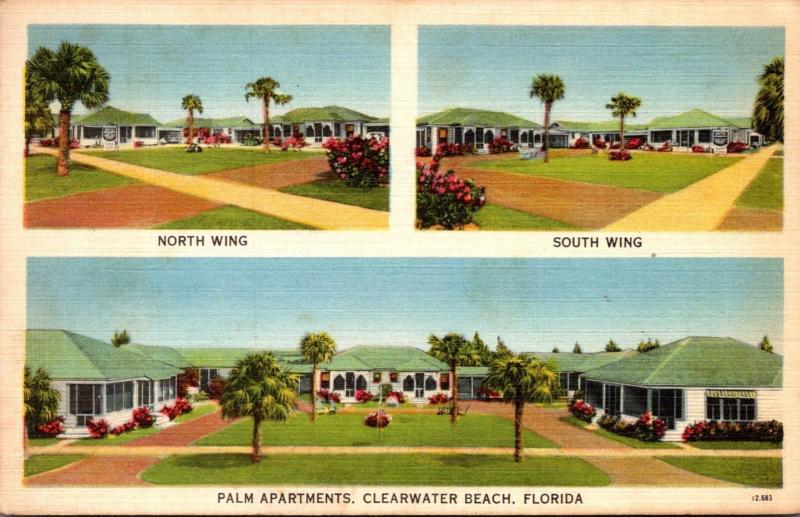 Florida Clearwater Beach Palm Apartments North & South Wing 1941