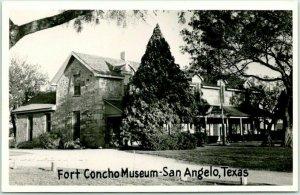 SAN ANGELO, Texas RPPC Real Photo Postcard FORT CONCHO MUSEUM c1950s Unused