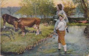 South Dakota Wentworth Going A Milking 1910