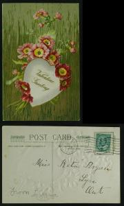 Valentine red flowers and white heart 1908
