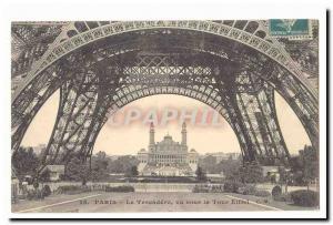 Paris (8th) Old Postcard Trocadero seen on the Eiffel Tower