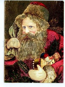 299263 HOLLAND New Year Red robbed SANTA w/ gifts foil postcard