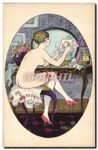 Old Postcard Fantasy Illustrator Woman Naked erotic