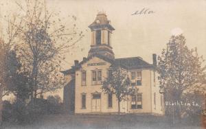 Blockton Iowa~Public School~Victorian Tower~Trees~1908 Real Photo Postcard~RPPC
