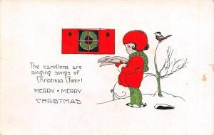 Christmas Caroler~Little Girl in Red & Green Sings Outside With Bird~Art Deco