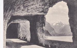 Switzerland Axenstrasse Blick auf Fluelen und Bristenstock