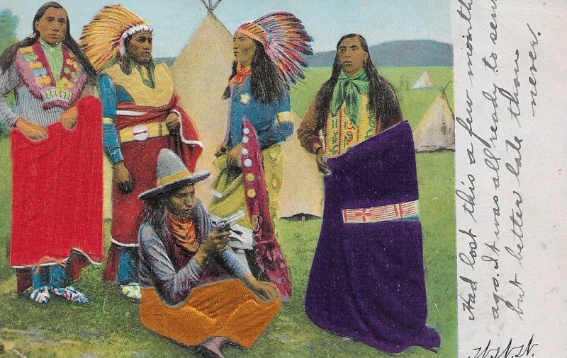 H-039  A Western American Indians Undivided Back Real Color Picture Postcard