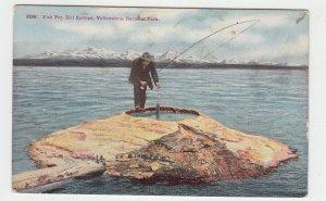 P2138, old postcard fishing the fish pot hot springs yelloestone park montana
