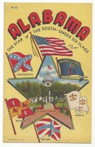 AL Large Letter Six Flags Alabama Star of the South Vtg 1942 Linen Postcard