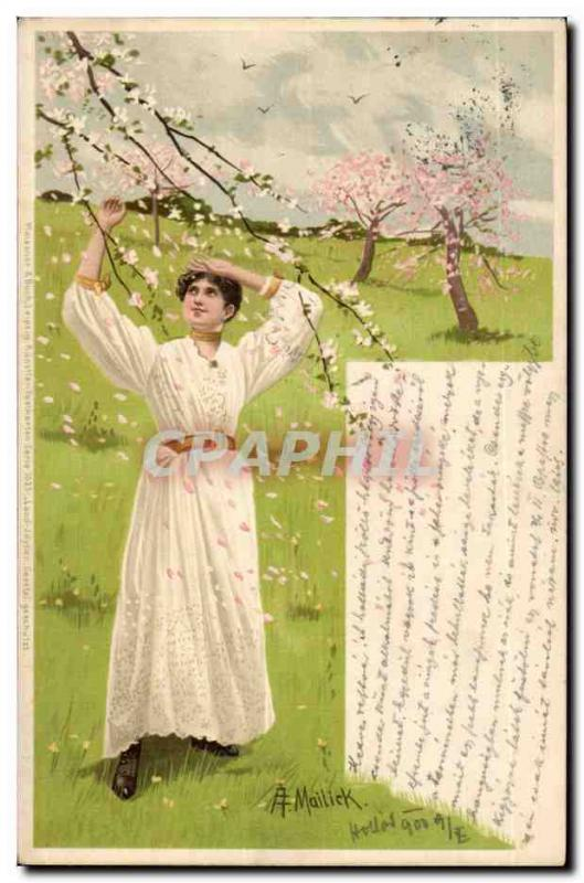 fantaisie - Woman on spring day (carte hongroise Hungary Hongrie) - CPA