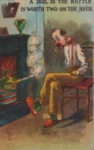 Man Boiling Kettle Smoking with Proverb Comic Postcard