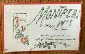 MONTREAL WISCONSIN WRITTEN IN GLITTER-HAPPY NEW YEAR POSTCARD